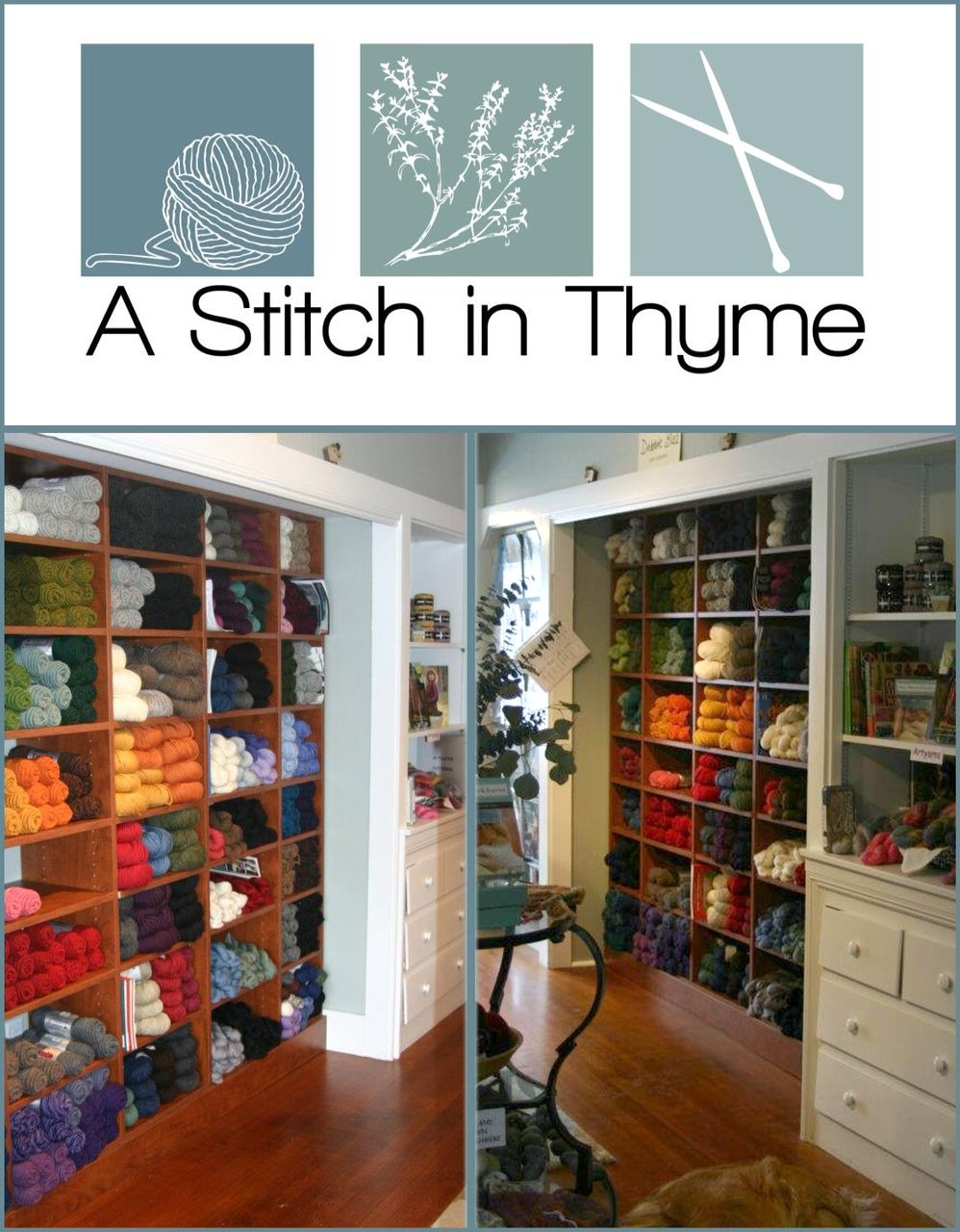 "Cape Cod Daily Deal with A Stitch in Thyme - a #yarn shop featuring fine yarns and unique gifts for the avid knitter and crocheter. We were established in May of 2011 and hope to make all feel welcome and at home in our cozy shop. A stitch in Thyme holds ""Sit  Stitch"" every Tuesday afternoon from 2pm to 4pm, Friday morning from 10:00am to 12:00pm and every Saturday morning from 10am to 12pm. This is an open #knitting session and no registration is required. http://www.capecoddailydeal.com/"