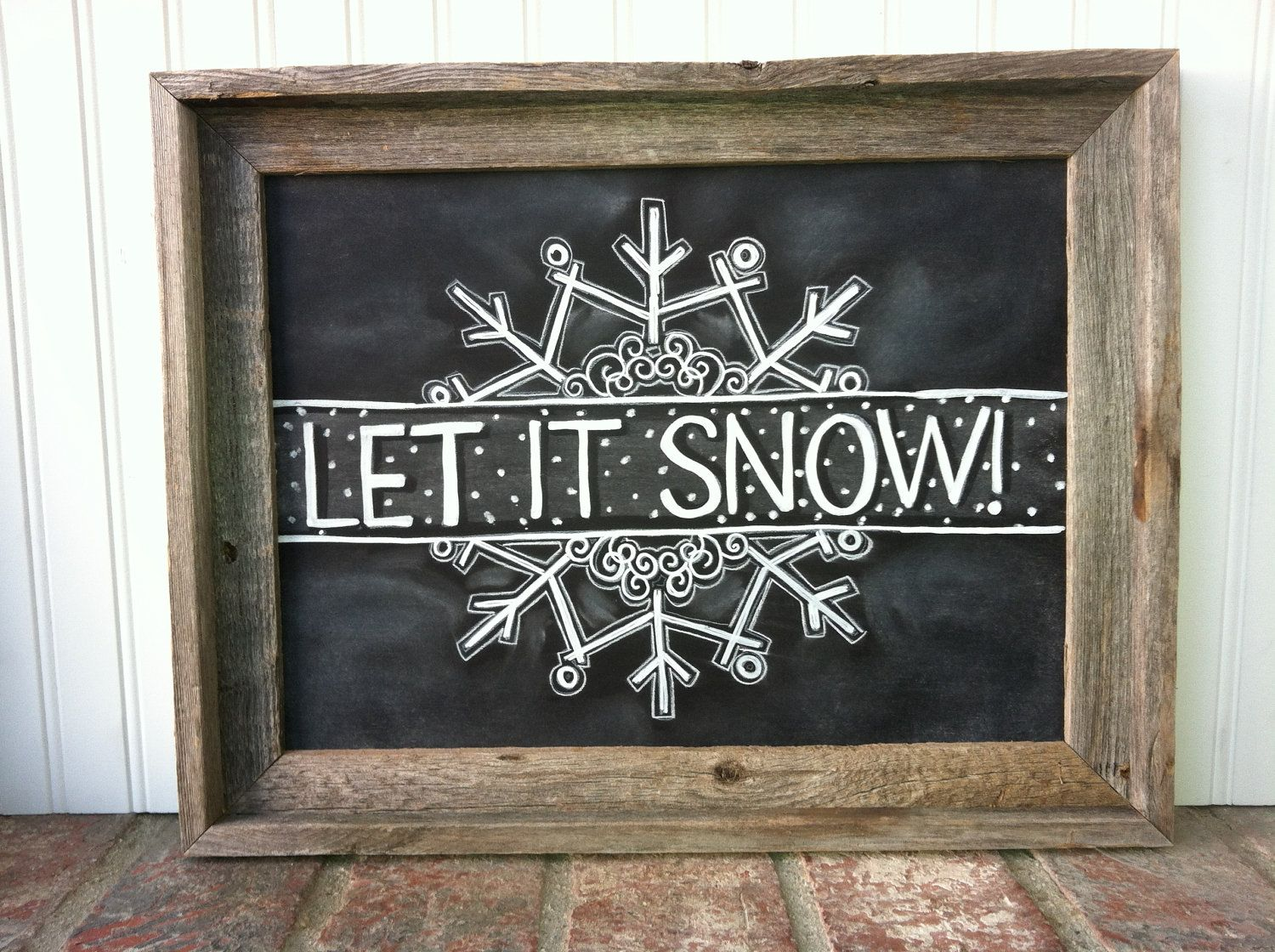 Snowing christmas decoration let it snow - Let It Snow Snowflake Chalk Art Instant Download Christmas
