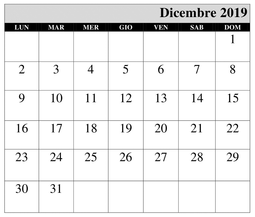 Calendario Mese Dicembre 2019.Mensile Calendario Dicembre 2019 Pdf Calendario 2019