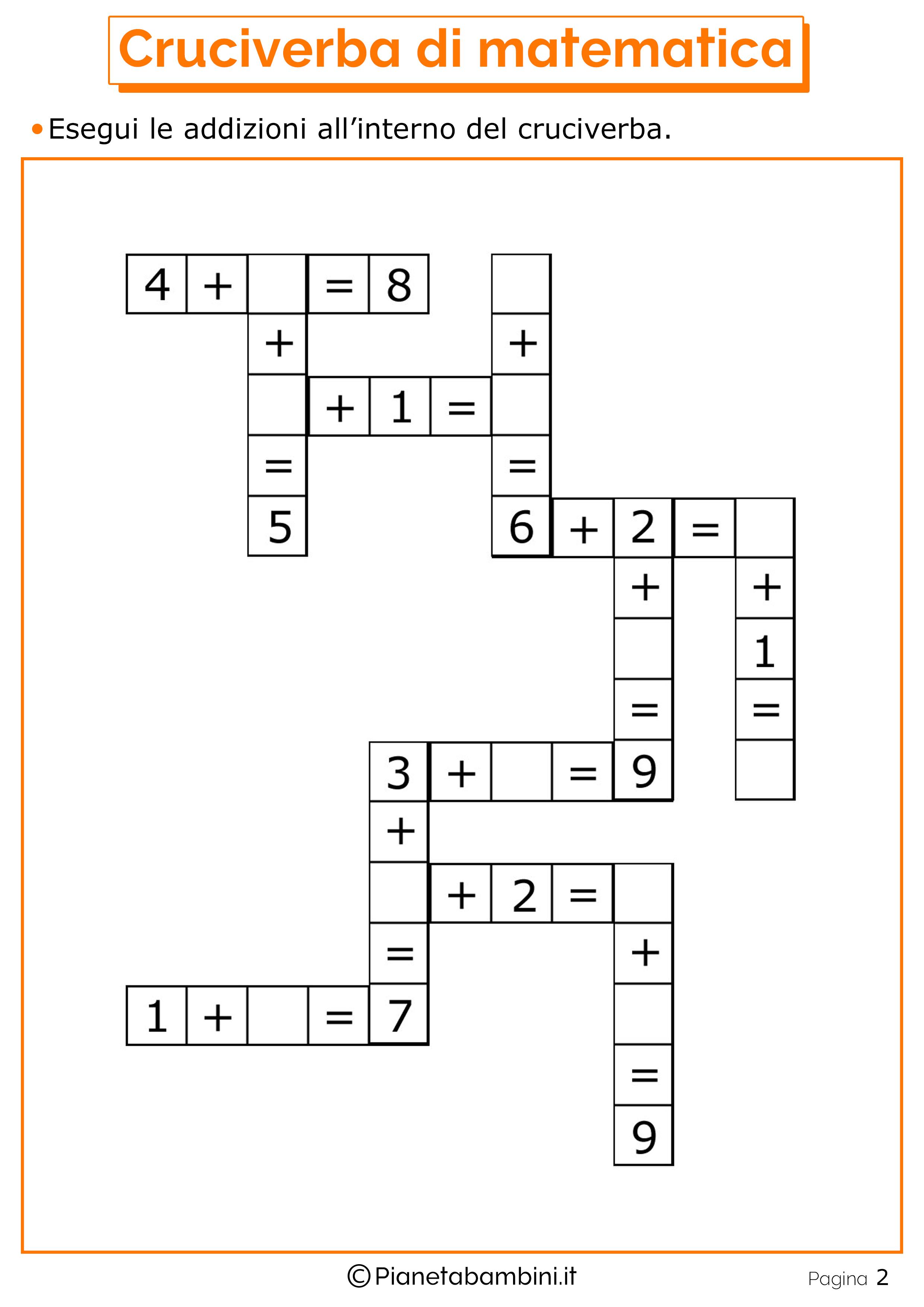 Cruciverba-Matematica_2.png (2480×3508) | Sumas en casa de valores ...