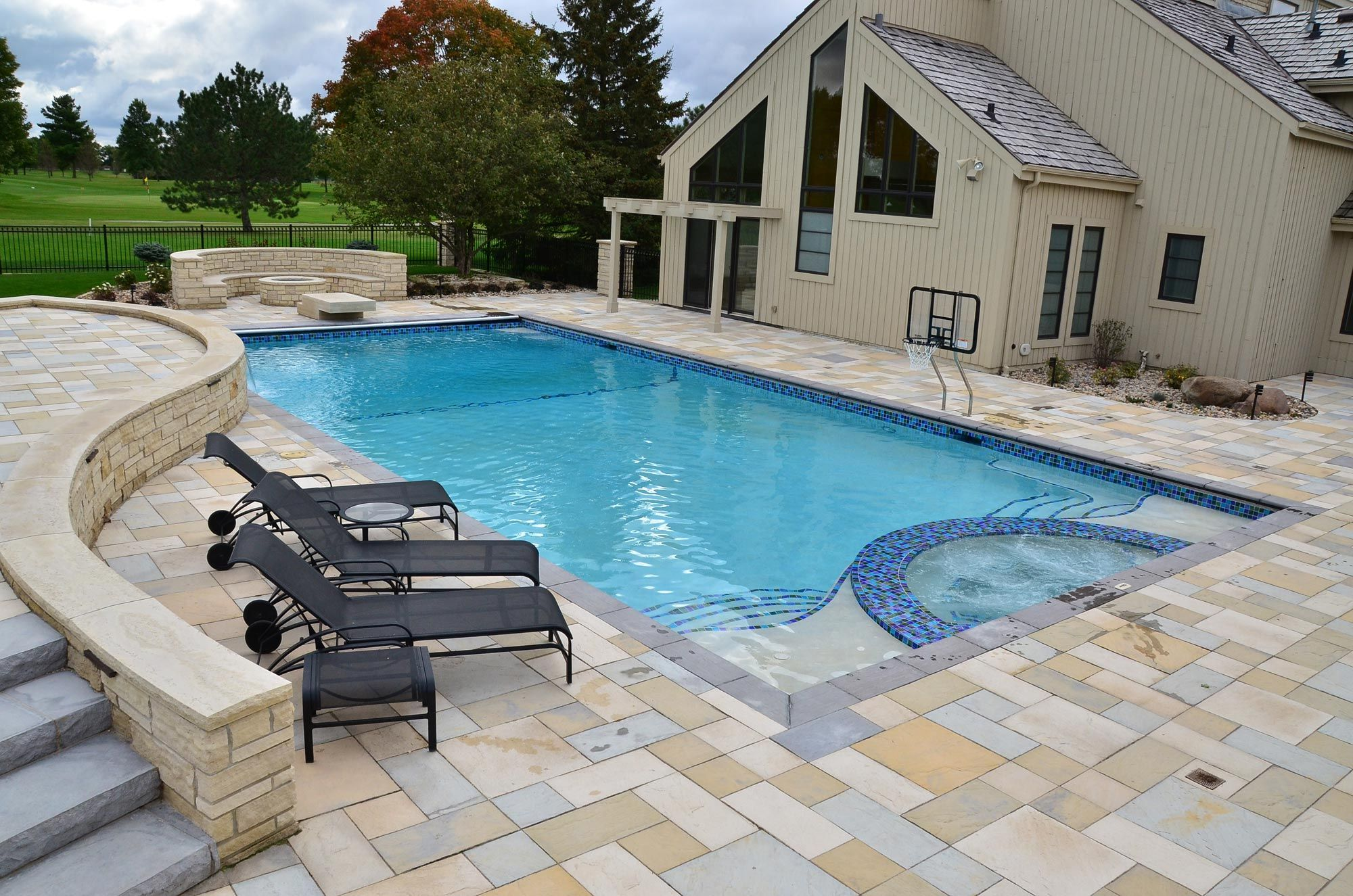 images of pools by pool tech midwest iowas premier pool builder - Rectangle Pool With Spa