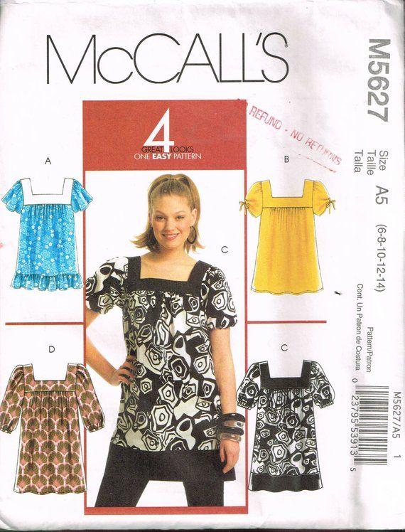 Off Shoulder Cold Shoulder Top Tunic Dress McCalls Sewing Pattern XS S M 4-14