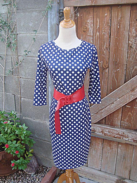 Vintage Blue & White Polka Dot Dress with by SofiasCobwebMuseum...$25