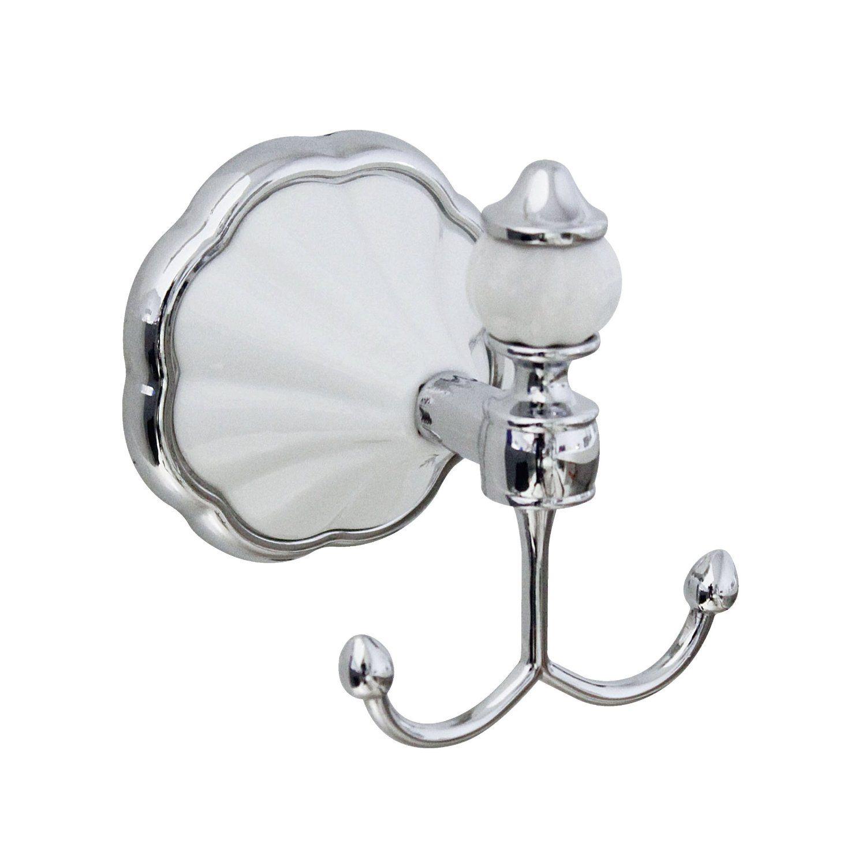 MODONA 9954-A Double Robe/Towel Hook White Porcelain and Chrome ...