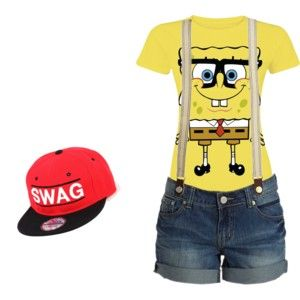 ed01347635 Spongebob tee, jean shorts w/ suspenders, & swag hat. yeaa dawg. :) ---  Polyvore.com