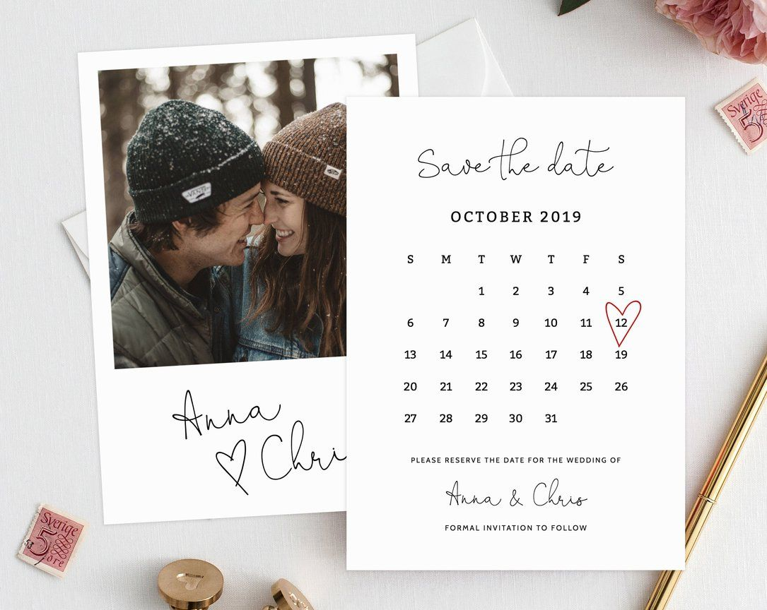 Editable Save the Date Calendar, Save the Date Template, Save the
