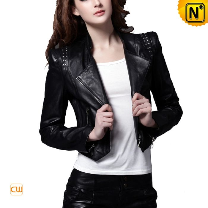 Cropped Black Leather Jacket For Women | Clothes-jackets-leather ...