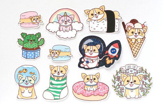 Kawaii stickers kawaii corgi stickers journal stickers Corgi sticker sheet Cute stickers pack Cute Corgi stickers Kawaii sticker sheet