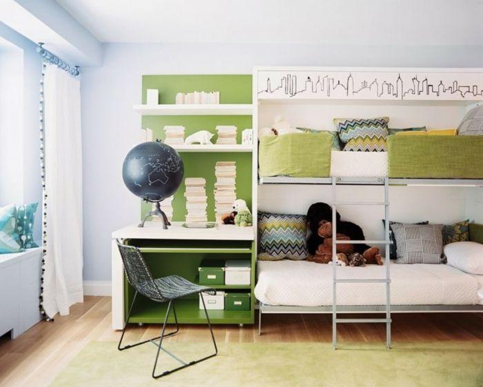 wohnideen kinderzimmer hochbett fensterbank ideen gardinen