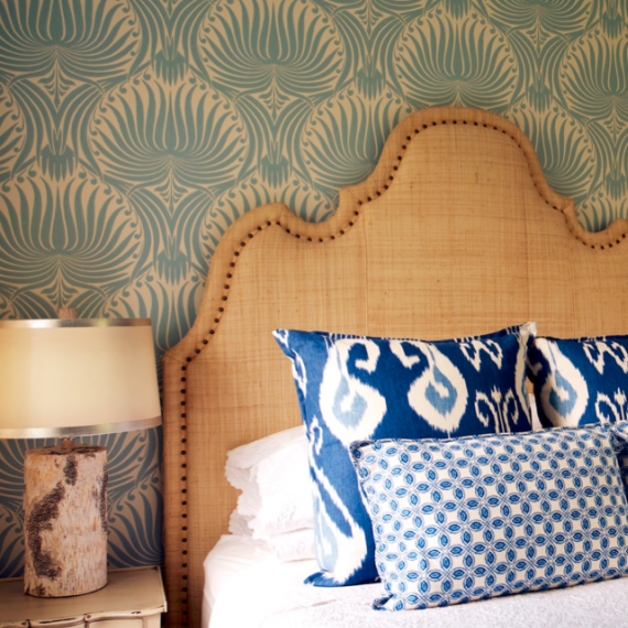 Design An Elegant Bedroom In 5 Easy Steps: Floral Wallpaper, Ikat Throw Pillows And Curvy Raffia