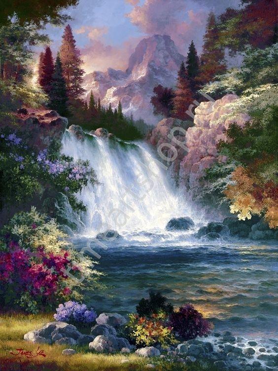 Водопад Востока, картины раскраски по номерам, своими ...