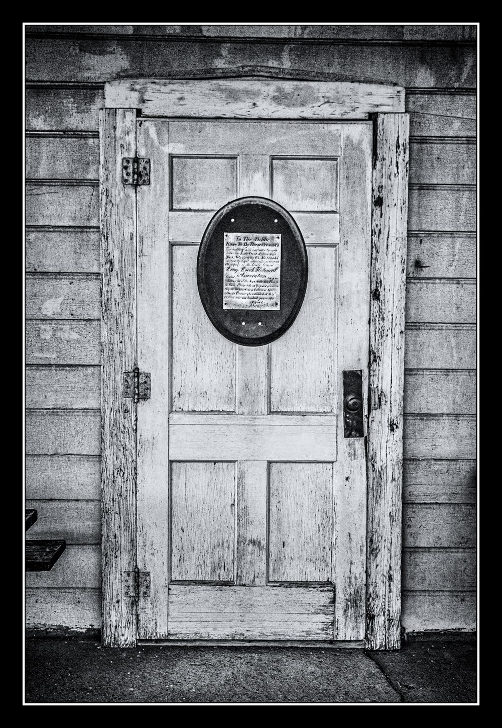 Front door of the abandoned one-room Longcreek Schoolhouse in Ft. Calhoun, NE