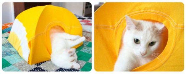 Cómo hacer una carpa para tu gato con una camiseta vieja   Pinterest