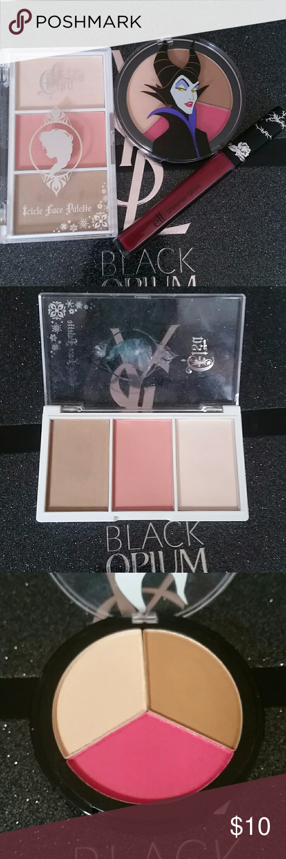 Ltd Disney Makeup Bundle Elsa by Disney icicle face palette: highlighter, blush, bronzer (swatched only for review) Ltd   Malificent by Disney blush, bronzer, highlighter palette (swatched only for review) Ltd   Elf good vs evil lip gloss in kiss & tell (never used or swatched, was part of a kit) ltd.   Everything that can be, was sanitized with alcohol Disney Makeup Blush