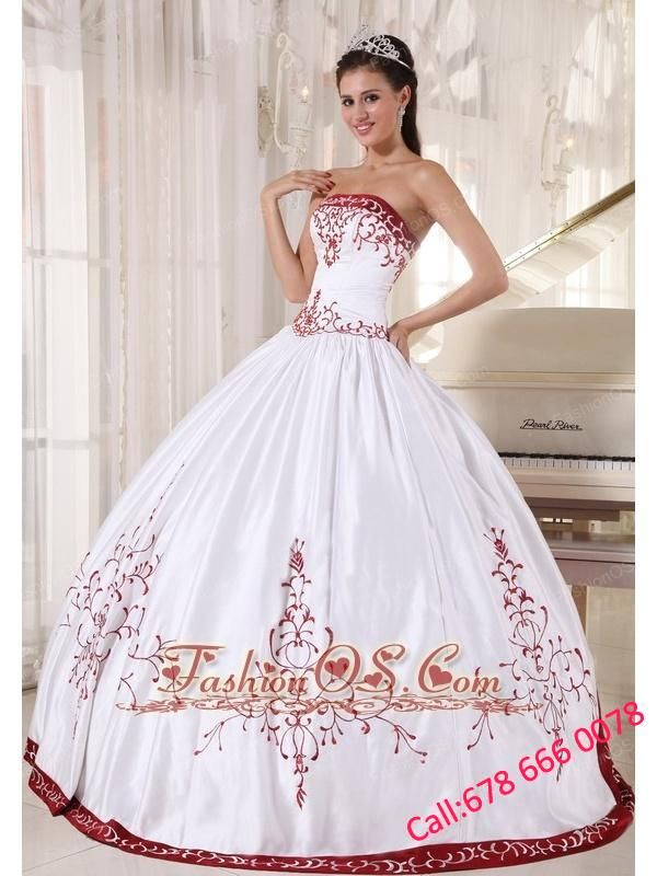 c0f10f50c9 Formal White And Wine Red Quinceanera Dress Strapless Satin Embroidery Ball  Gown