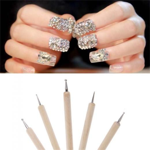 5pcsset 2 Way Wooden Nail Art Dotting Dot Pen Marbleizing Manicure