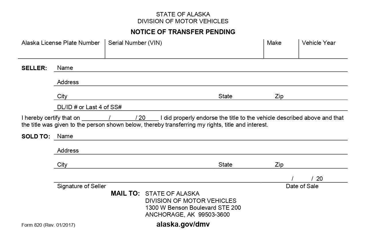 Alaska form 820 transfer of ownership car title bill of
