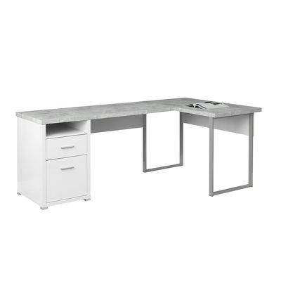Latitude Run Darcio 2 Drawer L Shape Corner Desk Color White