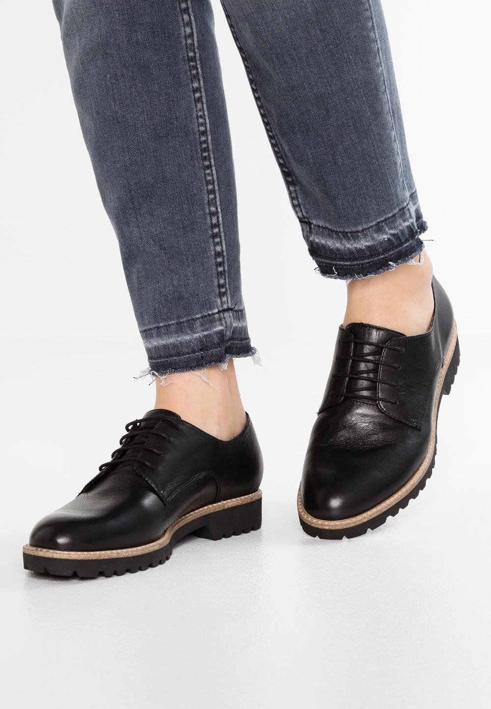 Tamaris Oksfordki Black Zalando Pl Block Heel Shoes Womens Oxfords Doc Martens Oxfords