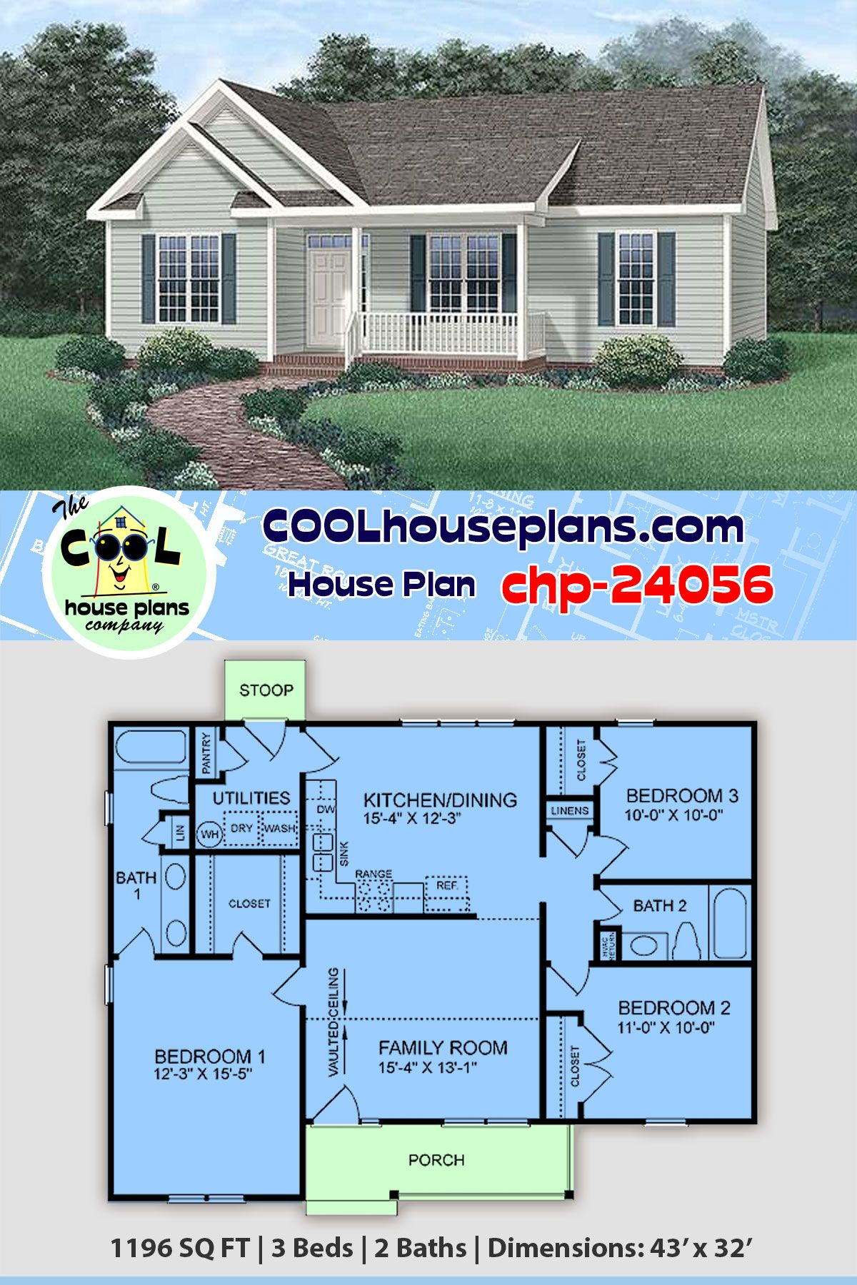 Compact 3 Bedroom Home Plan Chp 24056 At Cool House Plans Affordable Ranch Collection Ranch Style House Plans House Plans Best House Plans