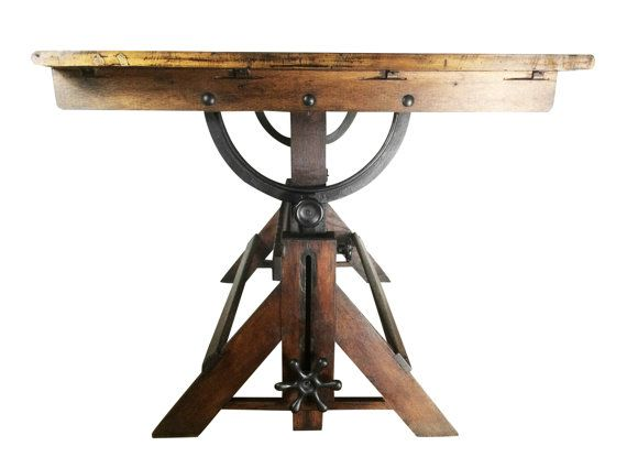 Large Antique Drafting Table Cast Iron Hardware Oak And Maple Construction