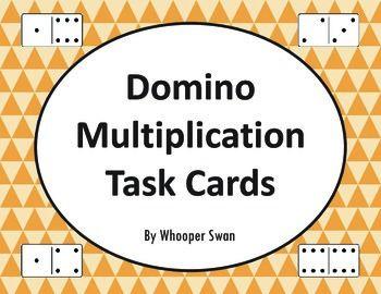 Domino Multiplication Task Cards https://www.teacherspayteachers.com/Product/Domino-Multiplication-Task-Cards-2037713 #math #dominomath #multiplication #TaskCards #scoot #tpt #teacherspayteachers #mathematics