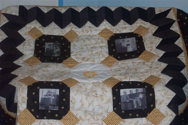 I made this memory quilt for my Aunt Lottie & Uncle Eric's 60th Anniversary. From top left: their wedding; their son's wedding; 4 generations with their granddaughter; their great-grandson.