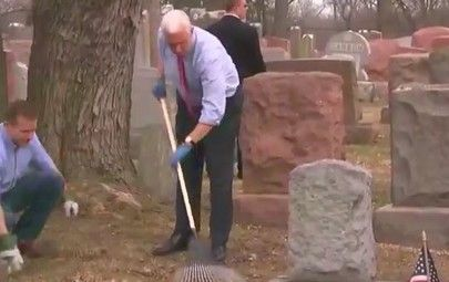 """On Wednesday, Vice President Mike Pence and Missouri Gov. Eric Greitens visited a Jewish cemetery that had been vandalized in a St. Louis suburb, where they joined in the clean-up effort.  At least 170 headstones were toppled and damaged at the Chesed Shel Emeth Society cemetery in University City. Pence thanked local residents for righting the toppled headstones, saying that they are inspiring the nation with their """"love and care for this place"""" and """"showing the world what America's about."""""""