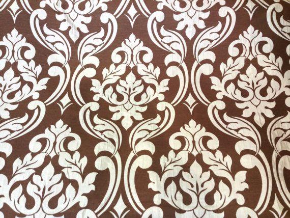 Oeuf de canard bleu et marron damass mobilier victorien tapisserie vintage rideaux coussins - Tissu ameublement vintage ...