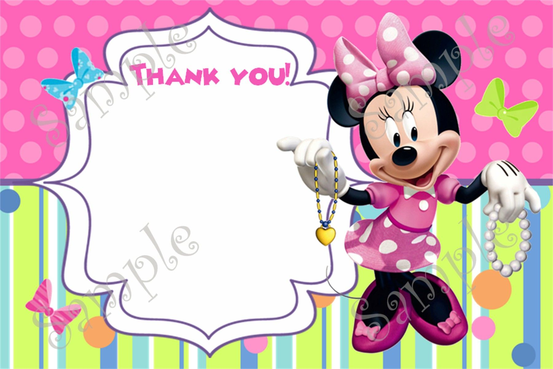 Minnie Mouse Birthday Invitation and Thank you card | Minnie Mouse ...