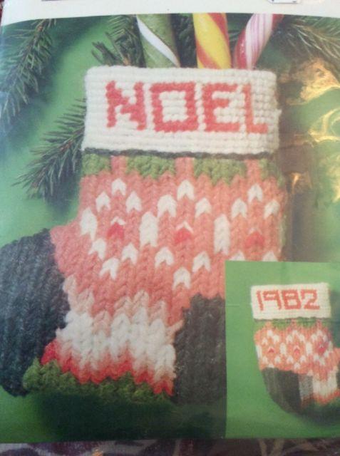Bernat Christmas Ornament Vtg Needlepoint Kit Fair Isle Stocking ...