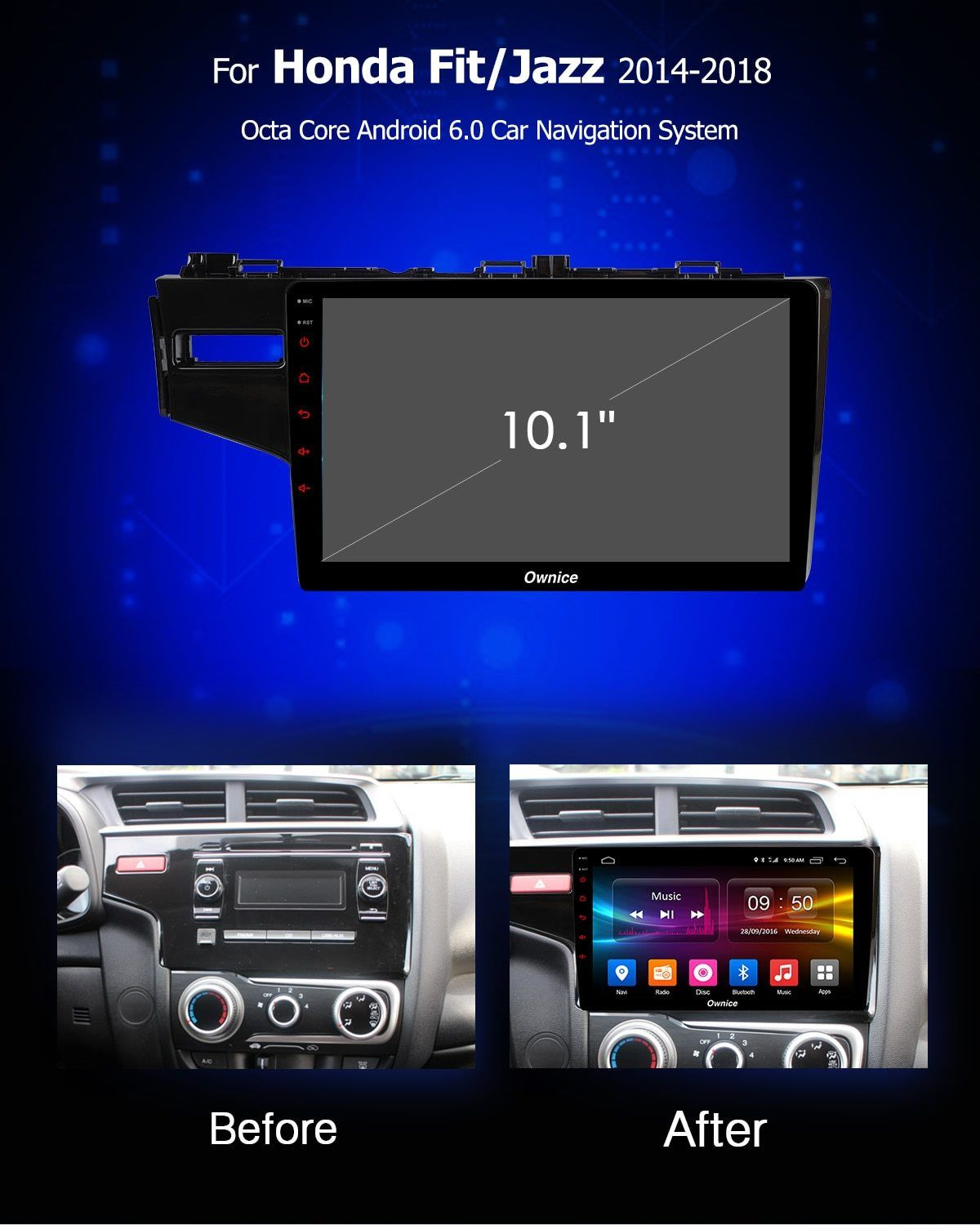 ownice c500 android 8 1 car dvd multimedia player gps for honda fit jazz 2014 2015 2016 2017 18 audio radio stereo navi 8 core [ 1200 x 1500 Pixel ]