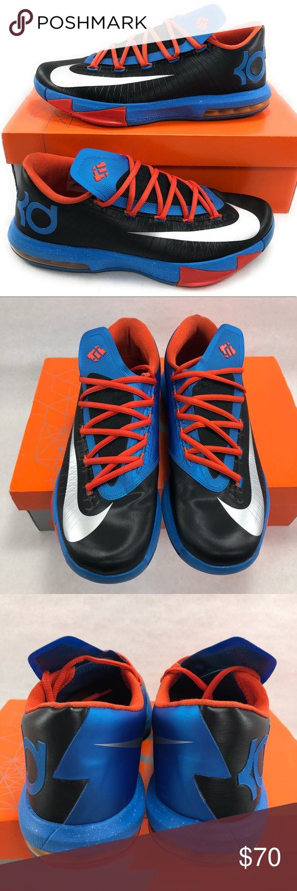 188153fc91c7 Nike KD 6 VI Thunder Away Kevin Durant 599424-004 Nike KD 6 VI Mens Size 10  Thunder Away Black Blue Orange Kevin Durant 599424-004.