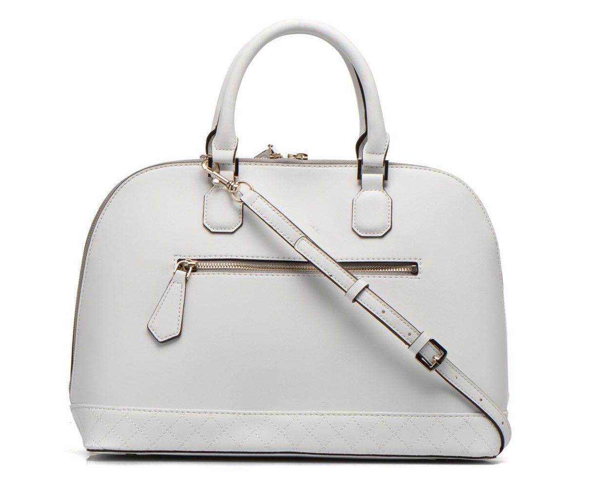 NWT - GUESS  KORRY PERFORATED DOME  White LEATHER SATCHEL - VG617206  99.95 75e081cba0cc1