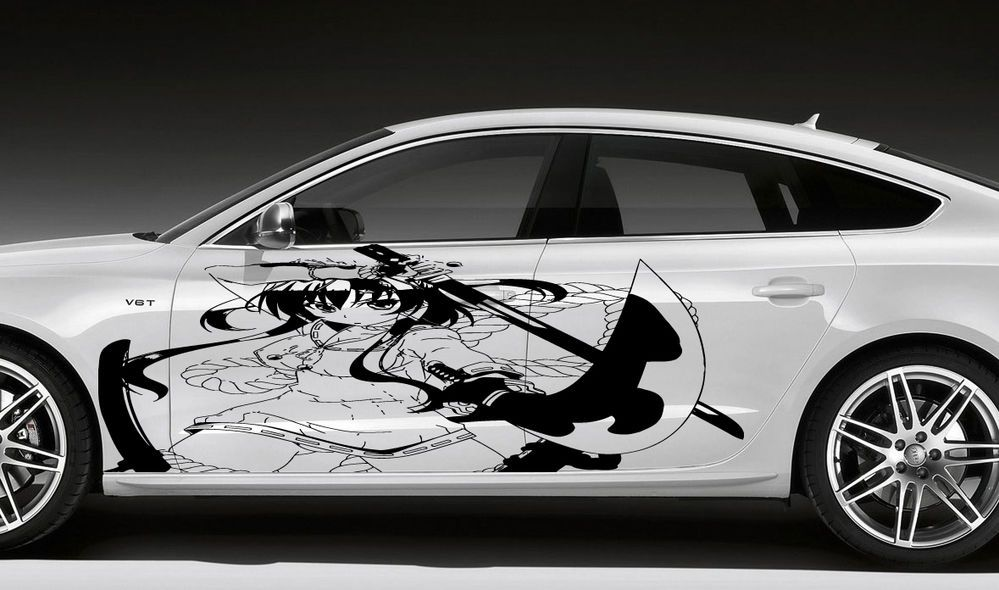 ANIME GIRL WITH AXE HOT CHICK MANGA CARTOON CAR VINYL STICKER - Custom vinyl decals for car hoodssoldier full color graphics adhesive vinyl sticker fit any car
