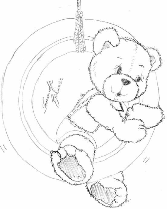 Ursinho Balanço Desenhos Animados Para Desenhar Pintura