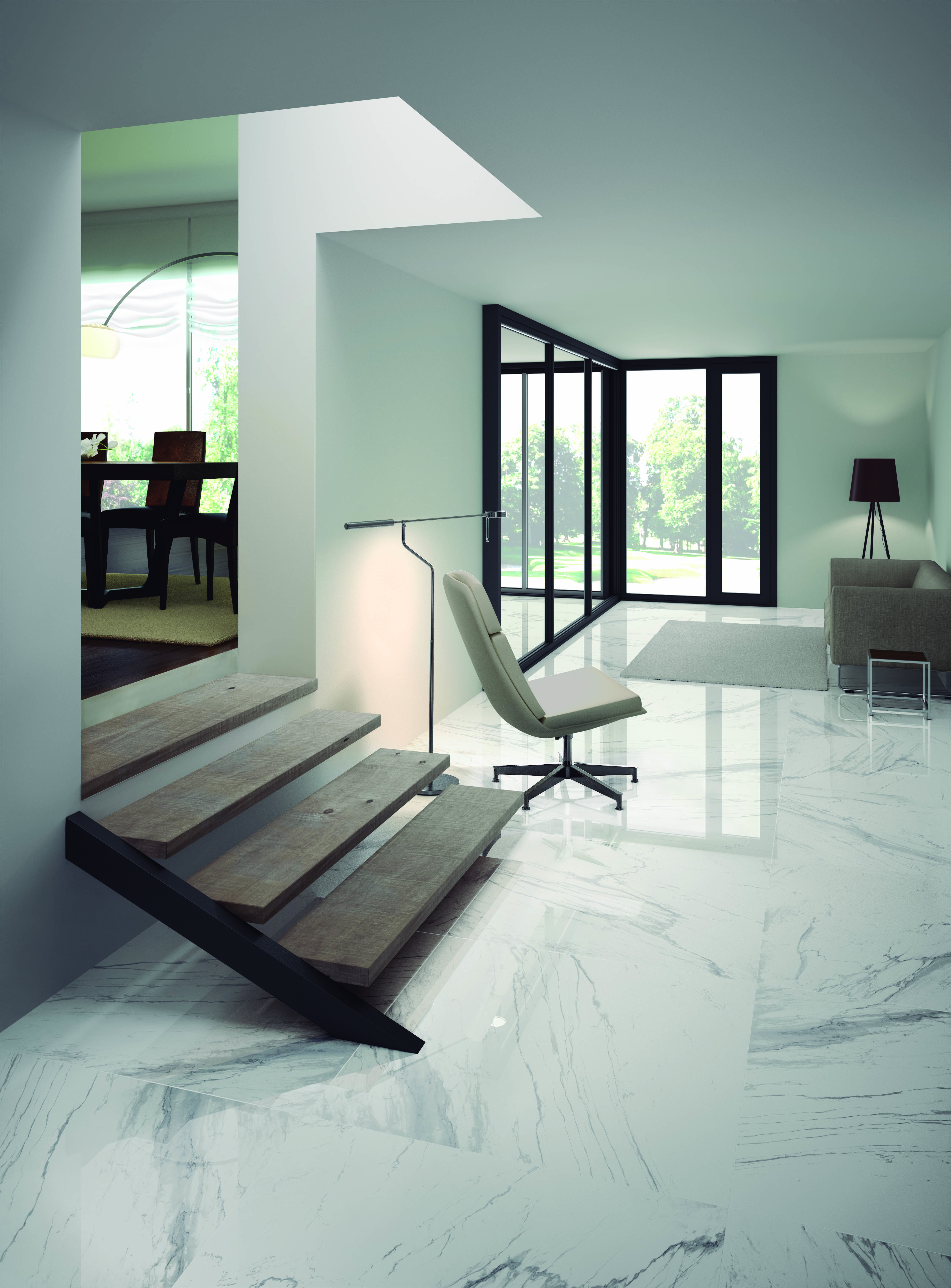 These Ceralsio Calacatta Gris Polished floor tiles are simple ...