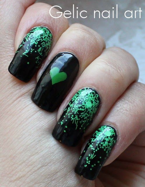 Gelic Nail Art Simple Valentines Nail Art In Black And Green