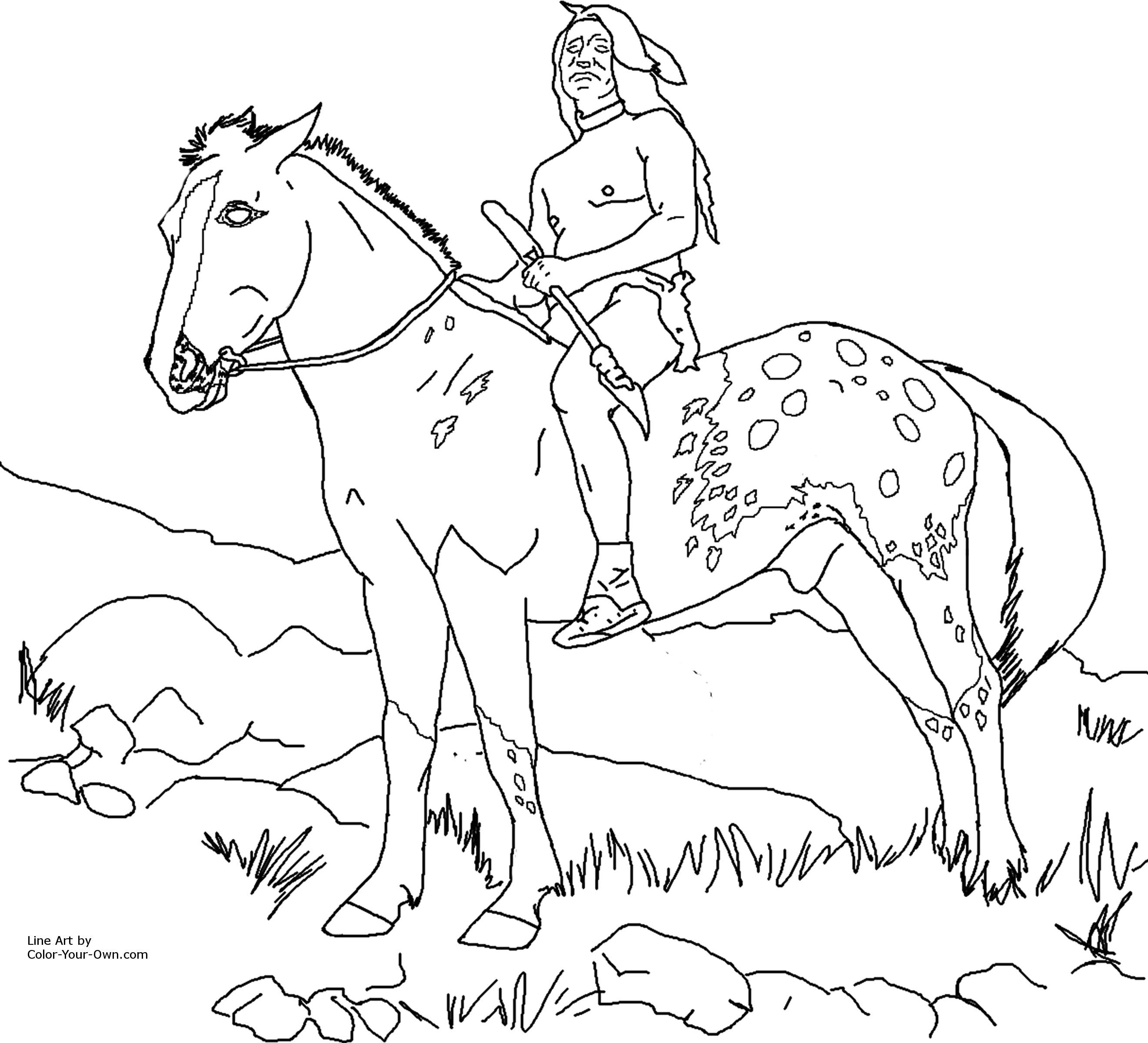Indian Horse Coloring Pages To Print Warna