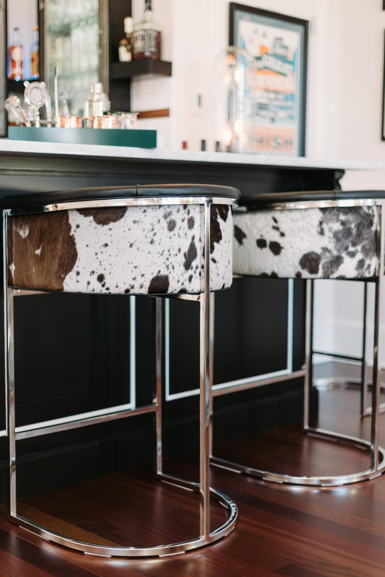 Calvin Cowhide Bar Stool | Steel frame, Bar stool and Stools