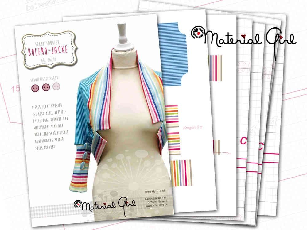 Bolero, Cotton-Jersey, free Pattern PDF (http://www.milo-shop.de ...