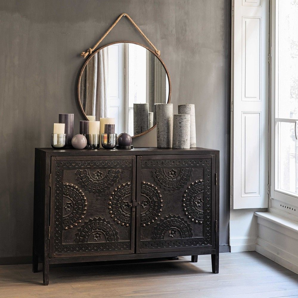buffet sculpt en manguier marron l 115 cm credenza. Black Bedroom Furniture Sets. Home Design Ideas