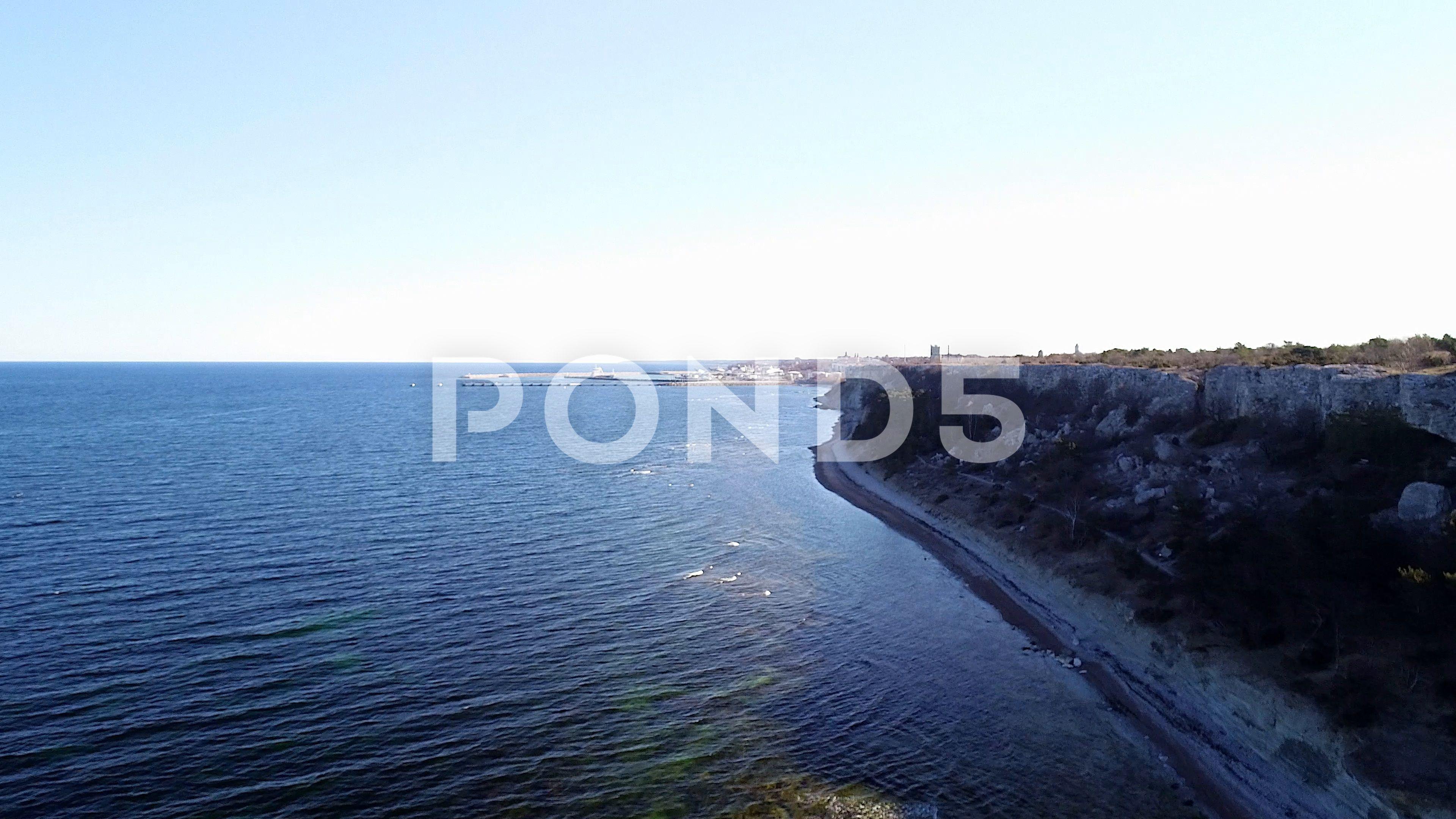 Flying Over The Ocean With Rocky Coastline Sweden Stock Footage Ad Rocky Ocean Flying Coastline Ocean Shores Coastal Landscape Ocean