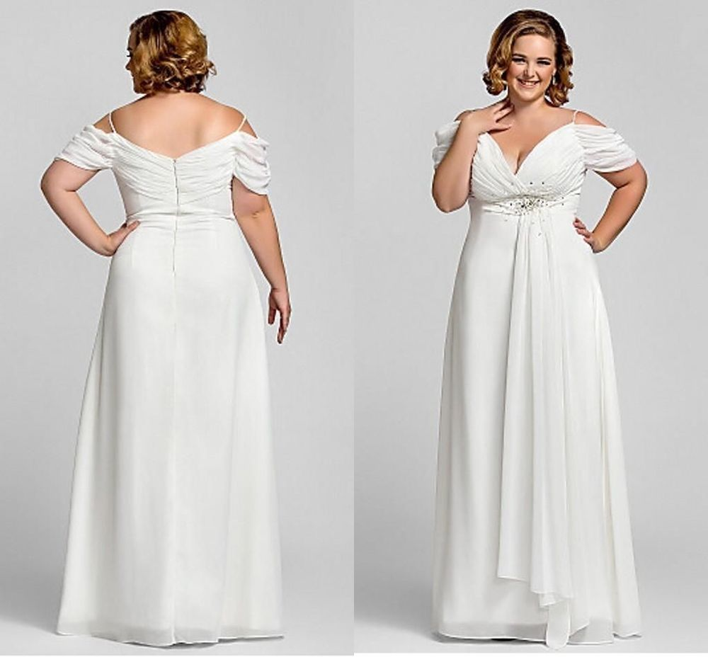 Sexy Chiffon Wedding Dress Bridal Gown Plus Size Custom 18 20 22