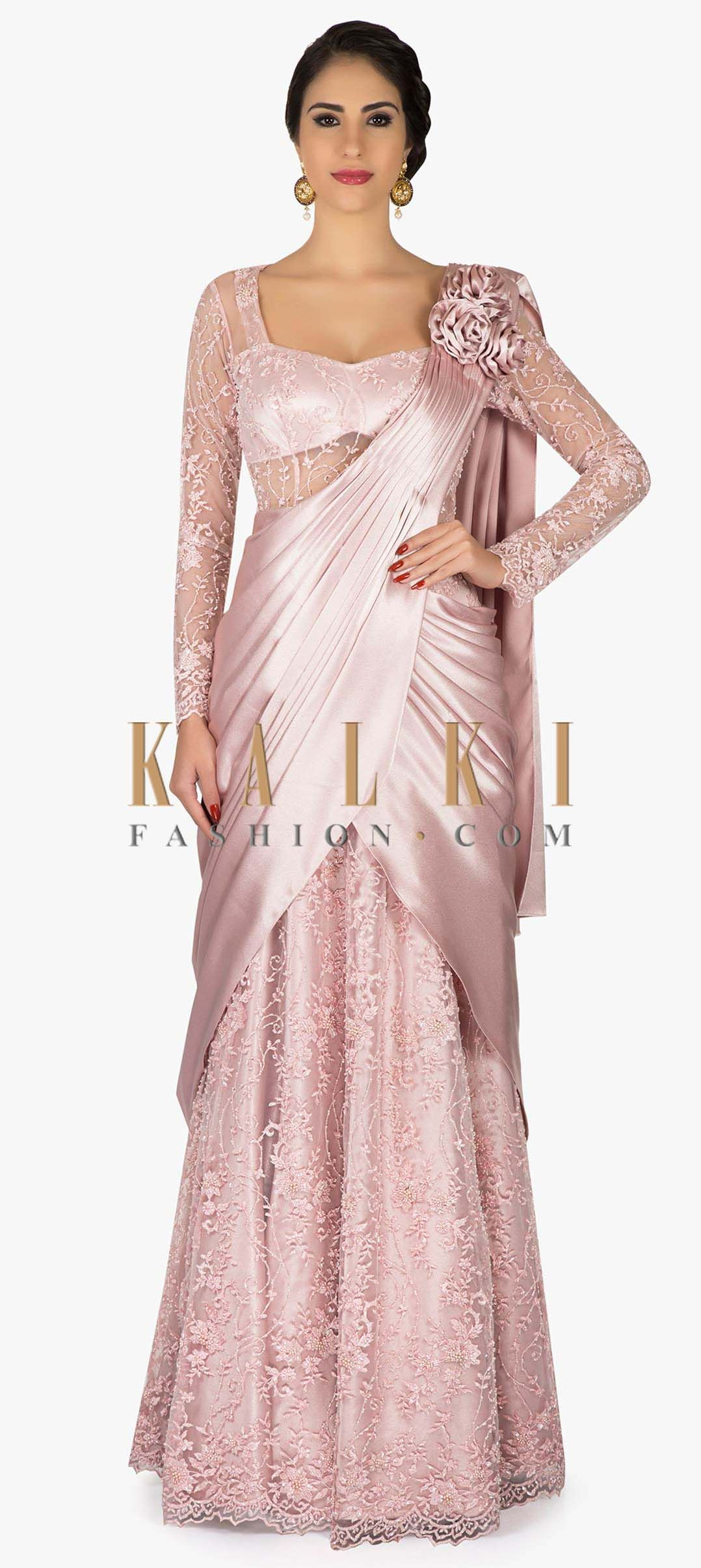 aed8f97560ce2 Lilac pink saree gown with pre stitched pallav and 3D flower only on Kalki