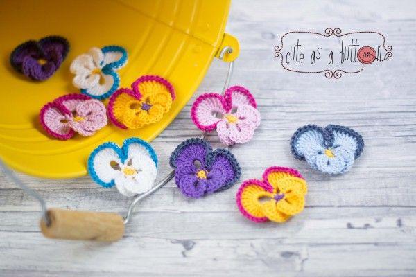 gratis Blume häkeln – Stiefmütterchen DIY