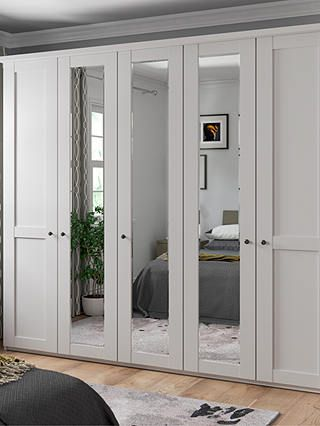 John Lewis & Partners Marlow 250cm Mirrored Hinged Wardrobe, Pebble Grey