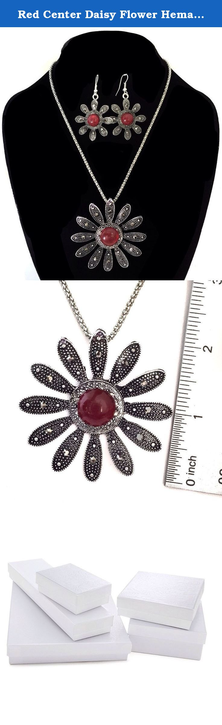 Red Center Daisy Flower Hematite Look Silver Tone Necklace Earrings Set. Gift Boxed. Great for year round wear.