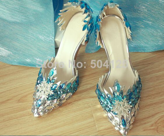 b6978f34e645c Frozen Princess Elsa snow queen girl Diamonds shoes cosplay costume ...