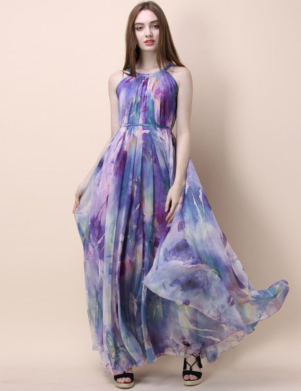 2fb9b98ff6e Medeshe Womens Chiffon Floral Holiday Beach Bridesmaid Maxi Dress Sundress  Medium Petite Lavender Lotus   Read